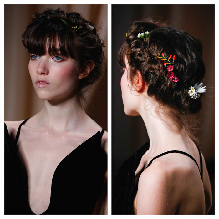 We are loving this oh so pretty crown braid with country flowers! The perfect start to spring, hair is braided around the head with pieces twisted and pulled for a modern twist on the Prairie look.