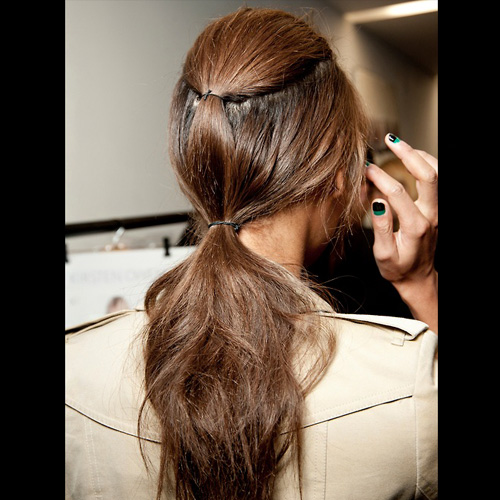 Whether textures or sports luxe the hair band is back seen at GIles, Cushnie et ochs and pretty much everywhere. This sets the trend for the summer.